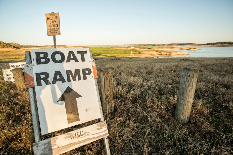 This temporary boat ramp will be out of the water soon too